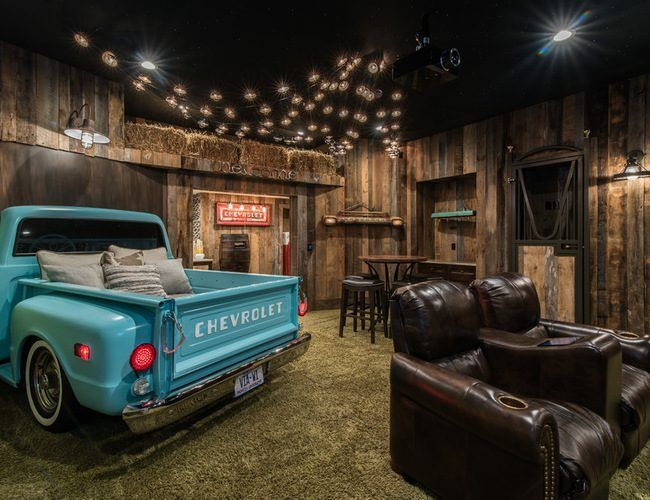 An Indoor Drive In Home Theater Design Revs Up The Fun For A Family Who Loves Movie Night Electronic House Home Theater Rooms At Home Movie Theater Home Theater Decor