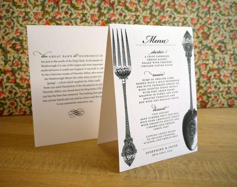 Spoon and Fork Wedding Dinner Menu 'Vintage Cutlery