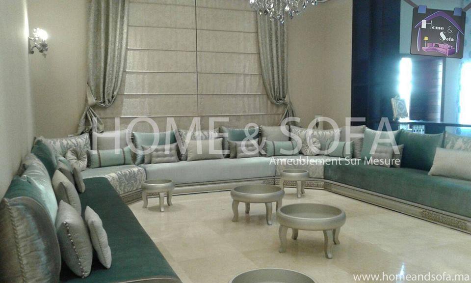 Salon marocain  salon marocain gris vert  table basse  Home and Sofa  Espace Deco  Home and