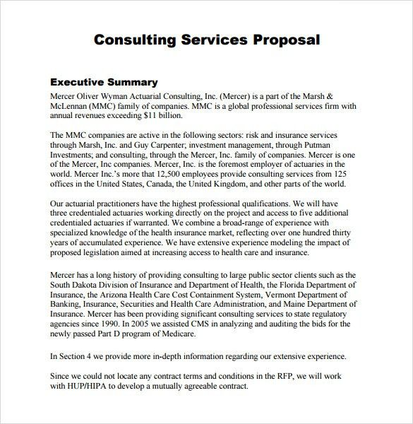 Consulting Proposal Template Sample Consultant Proposal