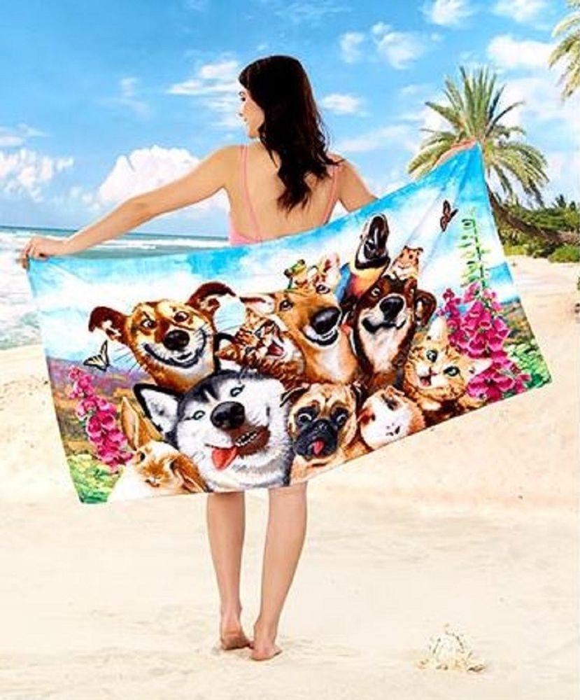 Beach Towels Cotton Bath Towel Dog Selfie Dogs Puppy Best Friend