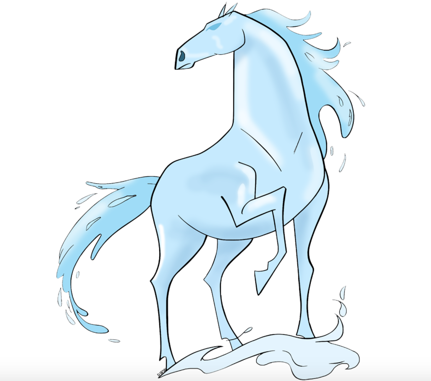 Nokk Elsa S Water Spirit Horse From Frozen 2 Frozen Art Horse Sketch Cool Girl Drawings