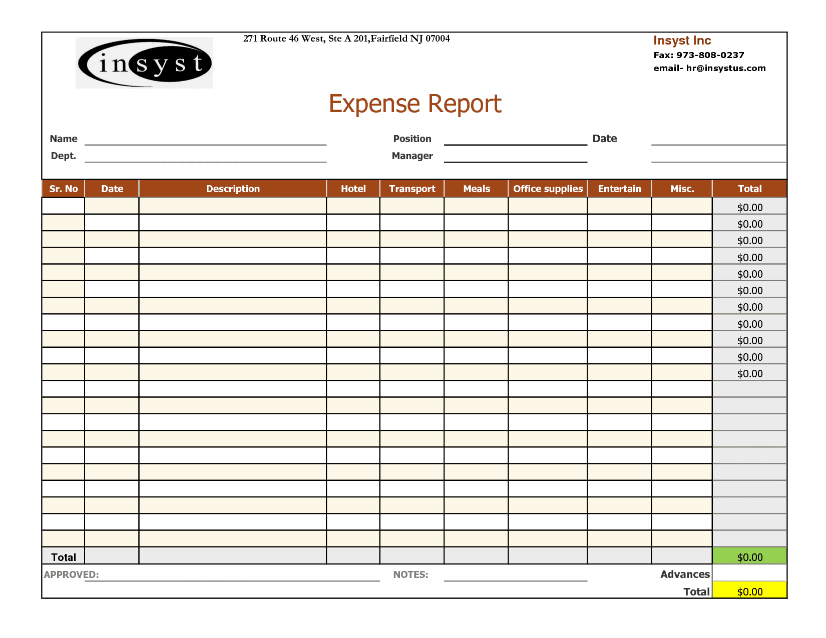 Free Business Expense Tracker Template In