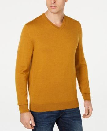105aadc4b126 Club Room Men's Merino Performance V-Neck Sweater, Created for Macy's -  Gold 3XL