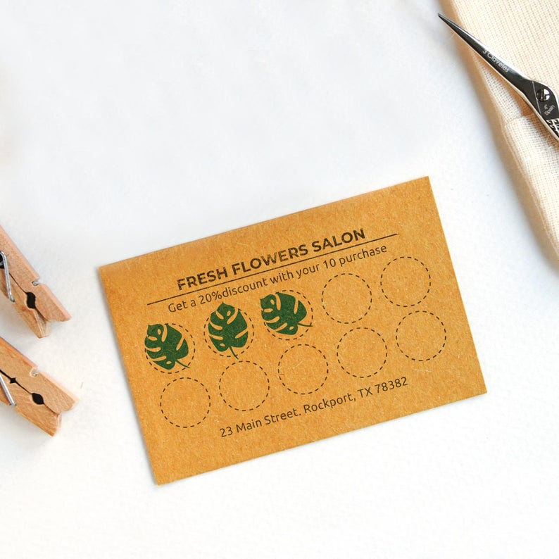 Loyalty Card Icon Stamp Flower Shop Punch Card Mini Stamp Flowers Mini Stamp Monstera Mini Stamp Four Leaf Clover Stamp Rose Mini Stamp Loyalty Card Design Loyalty Card Cards