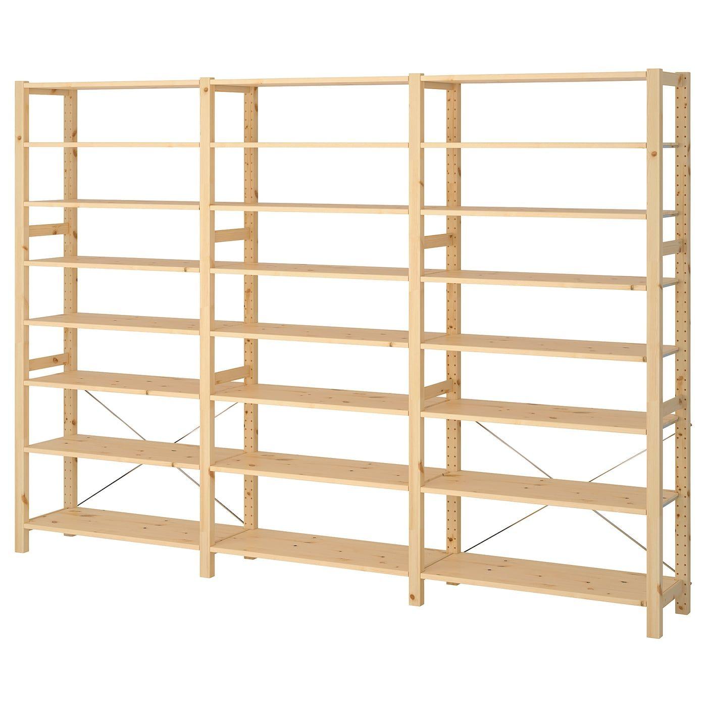 Ikea Ivar Pine 3 Section Shelving Unit In 2020 Shelves Ikea Wall Shelving Units