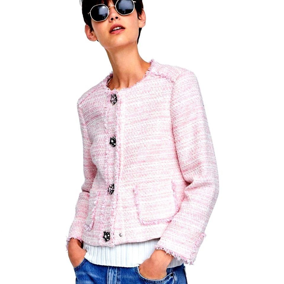 cf24bfc6 ZARA PINK TWEED BLAZER JACKET WITH GEM BUTTONS FRAYED EDGES SIZE S ...