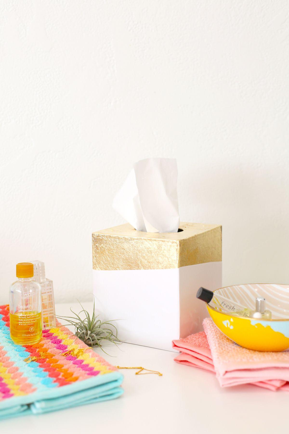 diy gold leaf tissue box holder no selfies in the. Black Bedroom Furniture Sets. Home Design Ideas