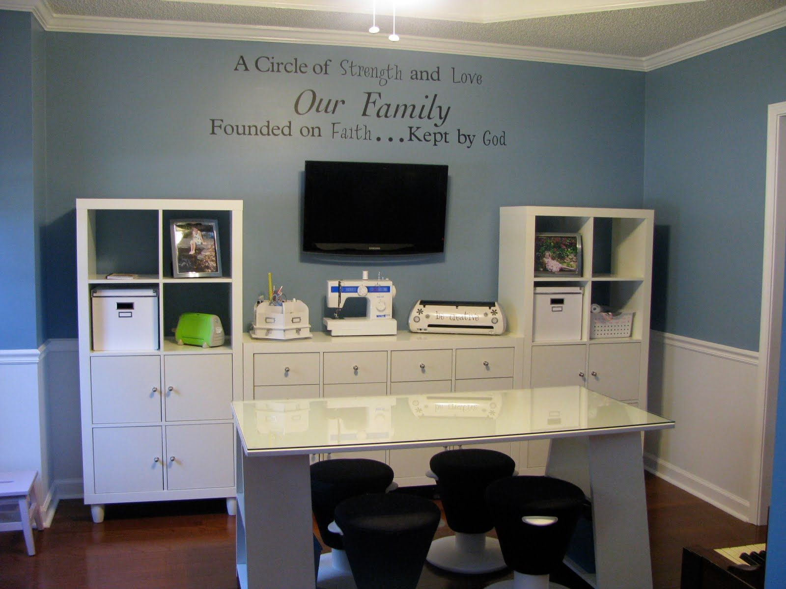 Ideas Home Office Design Ideas Navy Blue Painting Wall White Gloss ...