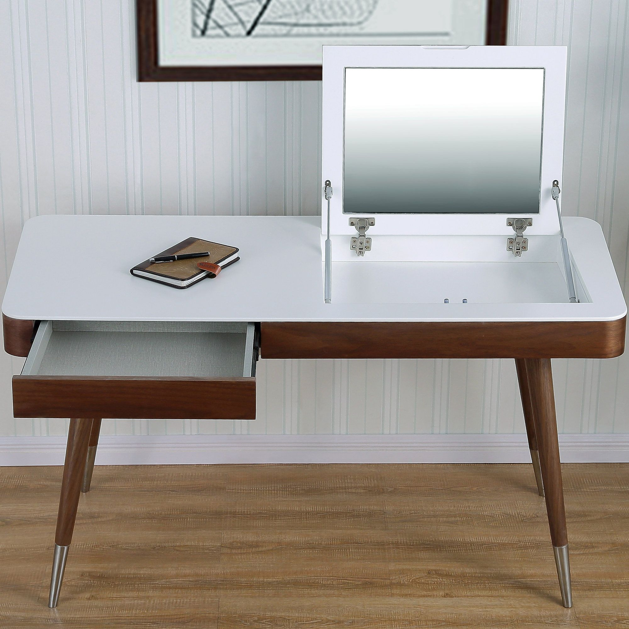 white gray solid wood office. High Gloss Desk Veneer Solid Wood Legs Vanity Set With Mirror White Gray Office