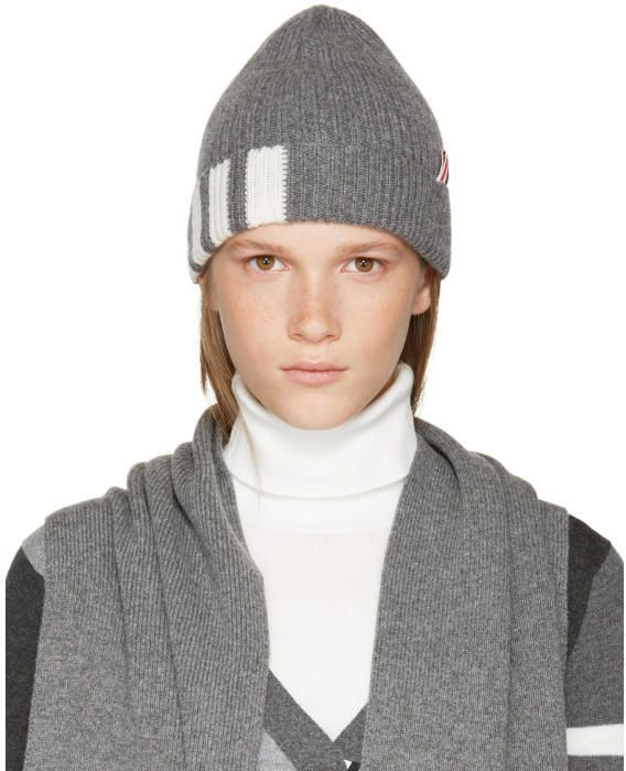 75d8683bc10 Thom Browne Grey Rib Cashmere Four Bar Beanie