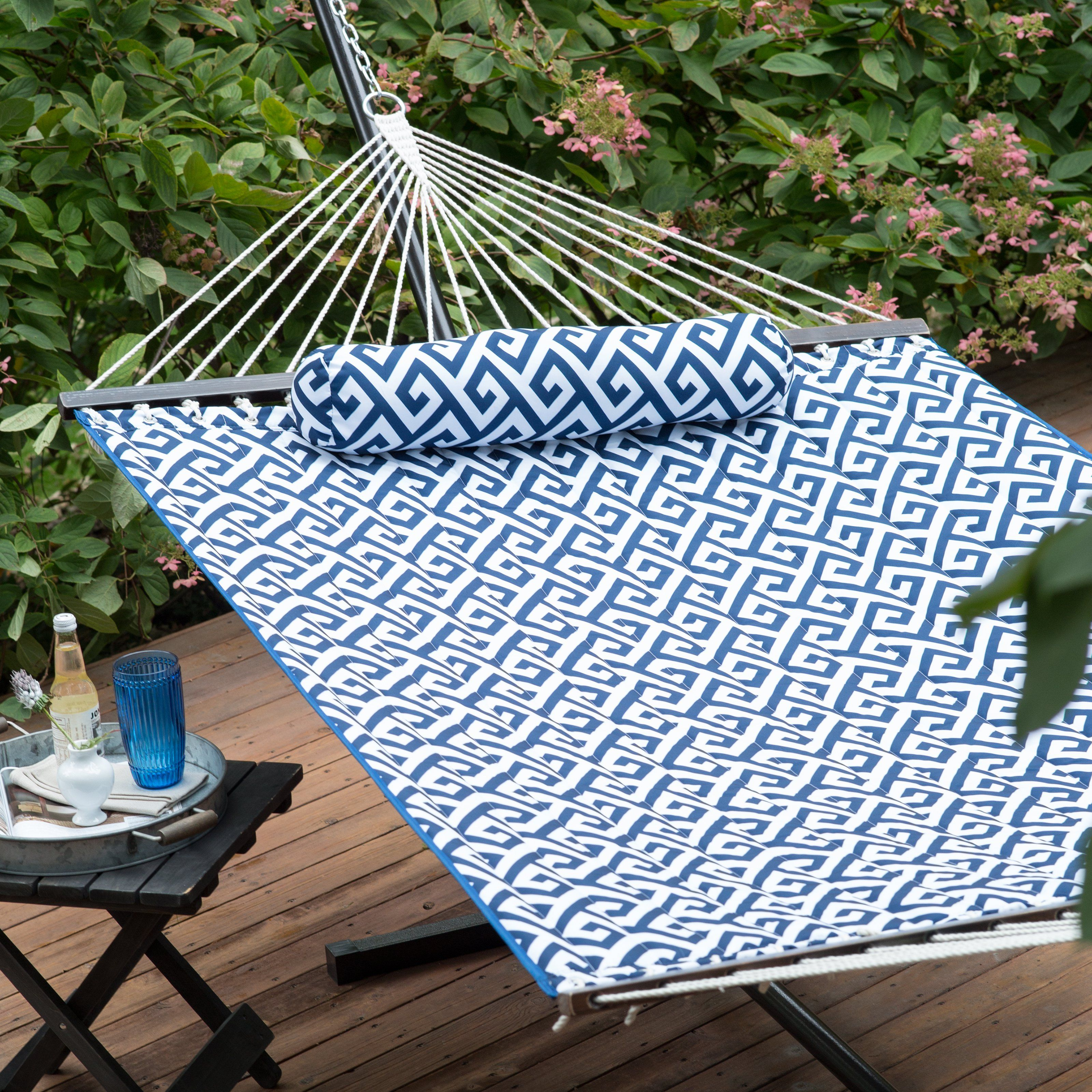 Island Bay 11 Ft Greek Key Quilted Hammock With Metal Stand Deluxe Set From Hayneedle Com Outdoor Hammock Outdoor Plates Hammock Stand