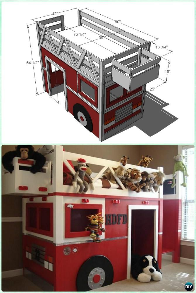 Diy kids bunk bed free plans truck bed bunk bed and playhouses - Fire engine bed plans ...