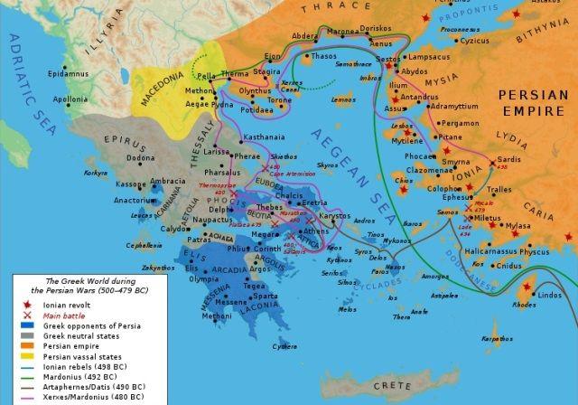Mapa Grcke Tokom Grcko Persijskih Ratova Foto Bibi Saint Pol