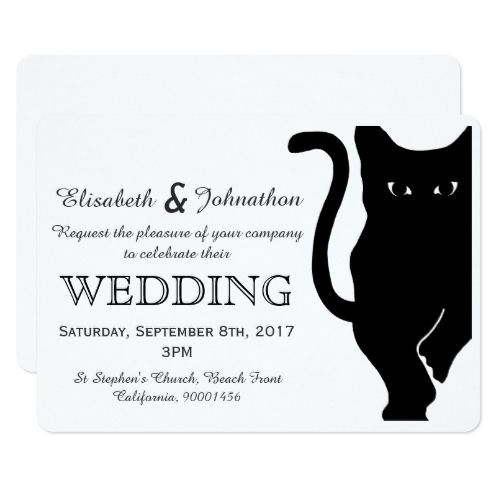 Black Cat Wedding Invitation Birthday Invitations Pinterest