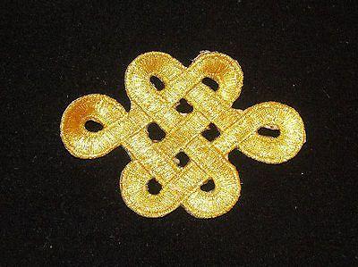 Metallic gold embroidery patch lace applique motif venise irish