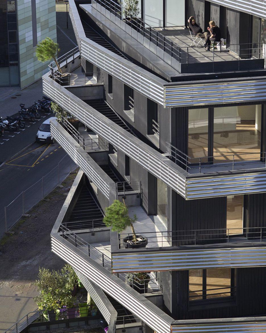 Apartment Balcony: Inoxia Apartments Feature Jagged Wraparound Balconies