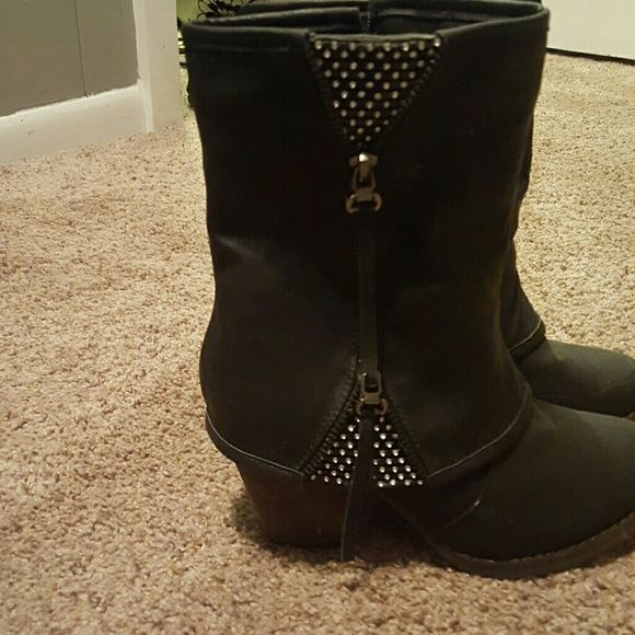 Black booties with rhinestones Extremely comfortable. Go with so many outfits Shoes Ankle Boots & Booties