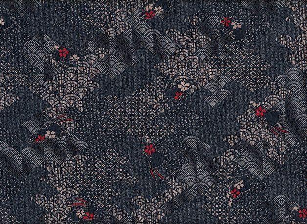 Tissu japonais gris noir rouge petits lapins ~ bureau coudre