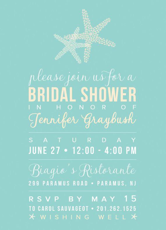 beach theme bridal shower invitation by inkbardesigns on etsy