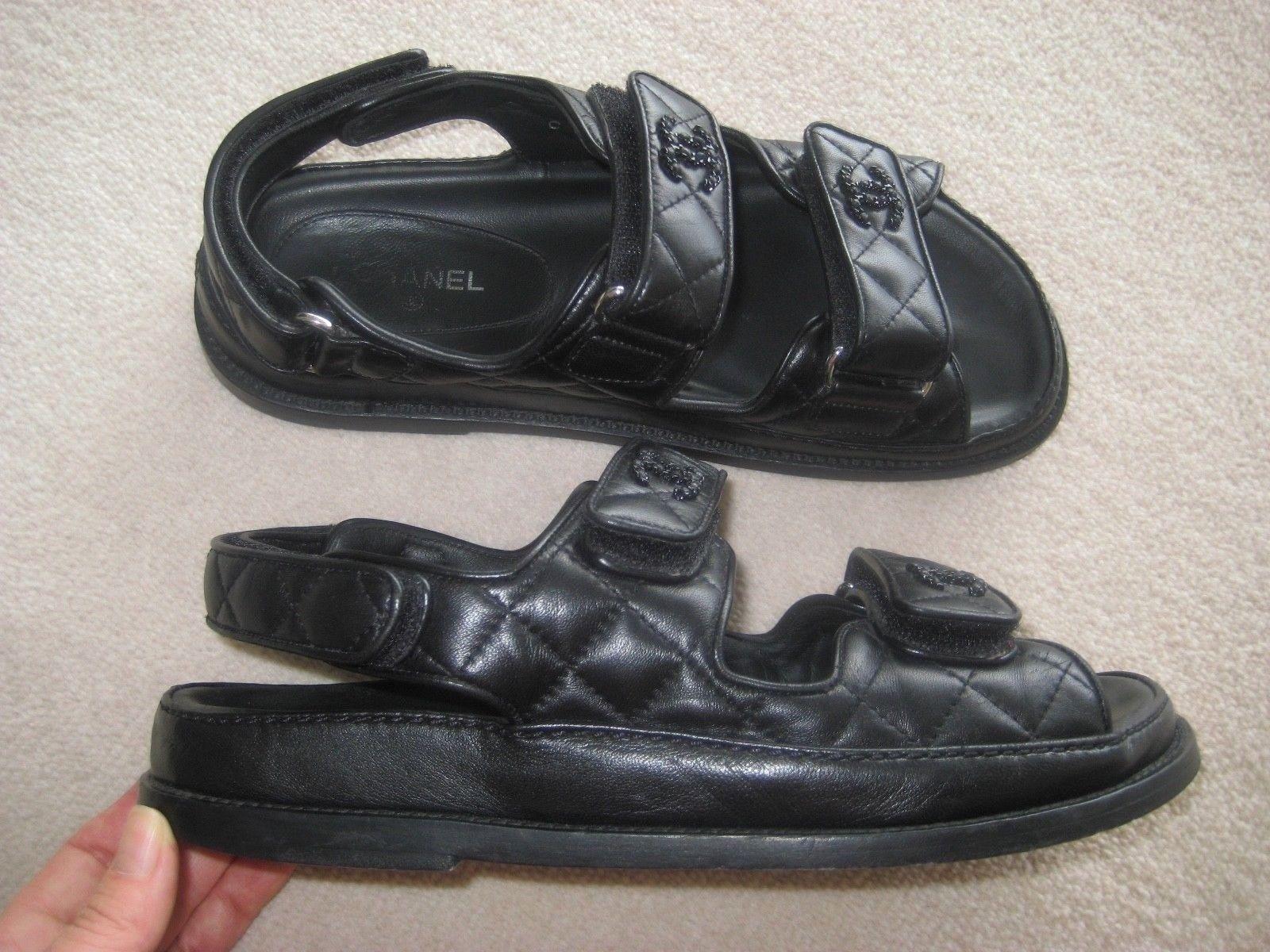 9a5548d27 2017 Chanel Black Leather Velcro Straps Platform Sandals CC Logo Shoes 39  Rare