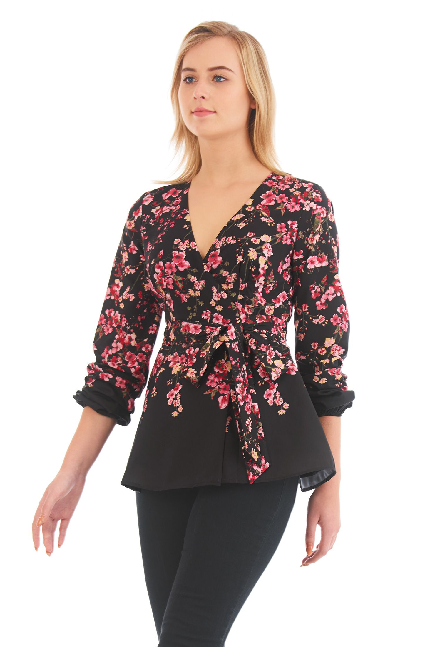 b7aa439b27 Casual Tops, crepe tops, extra long sleeve tops, Floral Print Tops ...