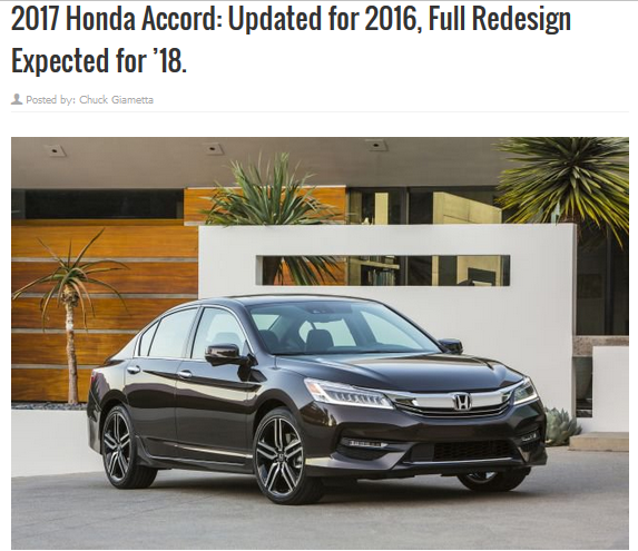 What changes are on the 2017 Honda Accord docket? Honda