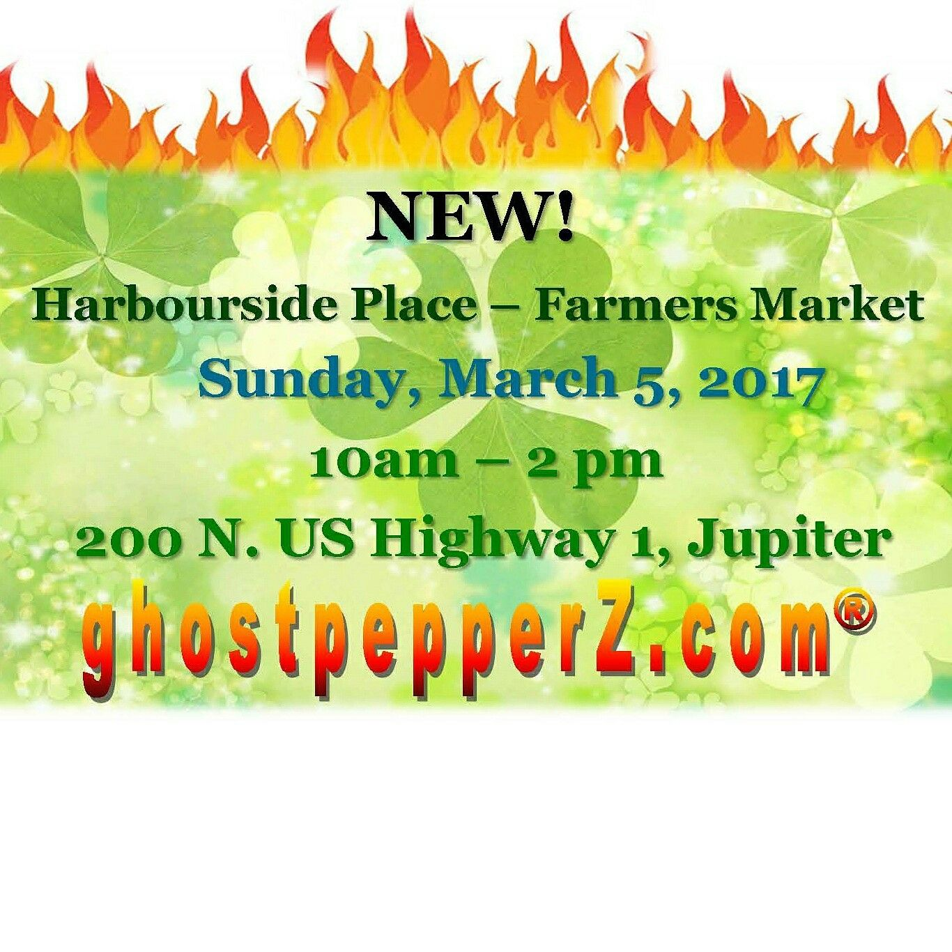 NEW! VISIT US at Harbourside Place - Jupiter GreenMarket ▪▪▪  Sun. 3/5 (10a-2p)  Scenic open-air local market, right on the Intercoastal Waterway,  hope to see you there!  www.ghostpepperZ.com  #ghostpepperZ