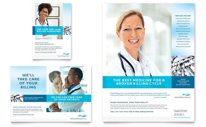 Medical Billing \ Coding Flyer \ Ad Template Design - medical brochure template