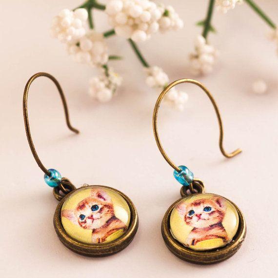 cat earrings cat jewelry cat lover glass dome earrings by dauz,