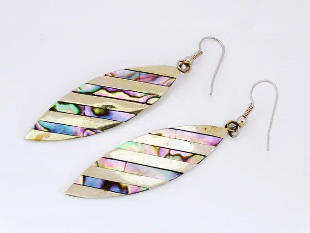 Art Deco Style Ladies Alpaca Mexico Diagonal Silver and Abalone Elliptical Drop Earrings FREE POSTAGE by GloryBeVintageWares on Etsy
