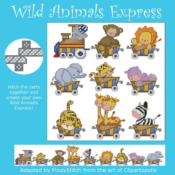 All Aboard! The Wild Animals Express is heading for a fantastic journey! Hitch the carts together and create your own Wild Animals Express Train! Mini Cross Stitch Pattern: Wild Animals Express Design Source: Clipartopolis.com DMC Floss Colors: 26 Stitch Count: 50 x 50 (Average each cart) Approximate Finished Size on Recommended Fabric:* 14 count = 4 w x 4 h Inches 16 count = 3 w x 3 h Inches 18 count = 3 w x 3 h Inches 22 count = 2 w x 2 h Inches </li><&#x2F...