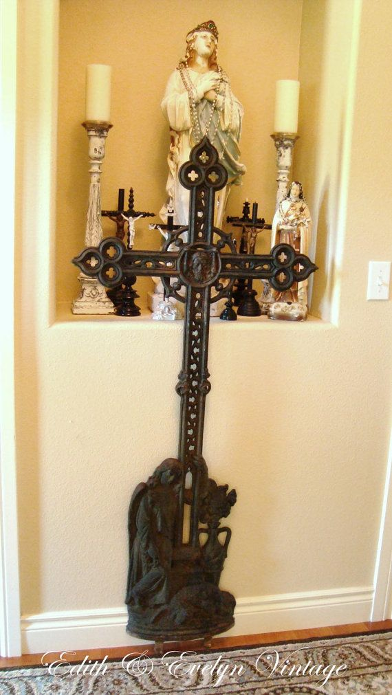 RESERVE for Nancy: Antique French Cast Iron Cross Crucifix, from ...