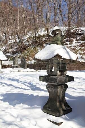 Japanese stone lantern photo