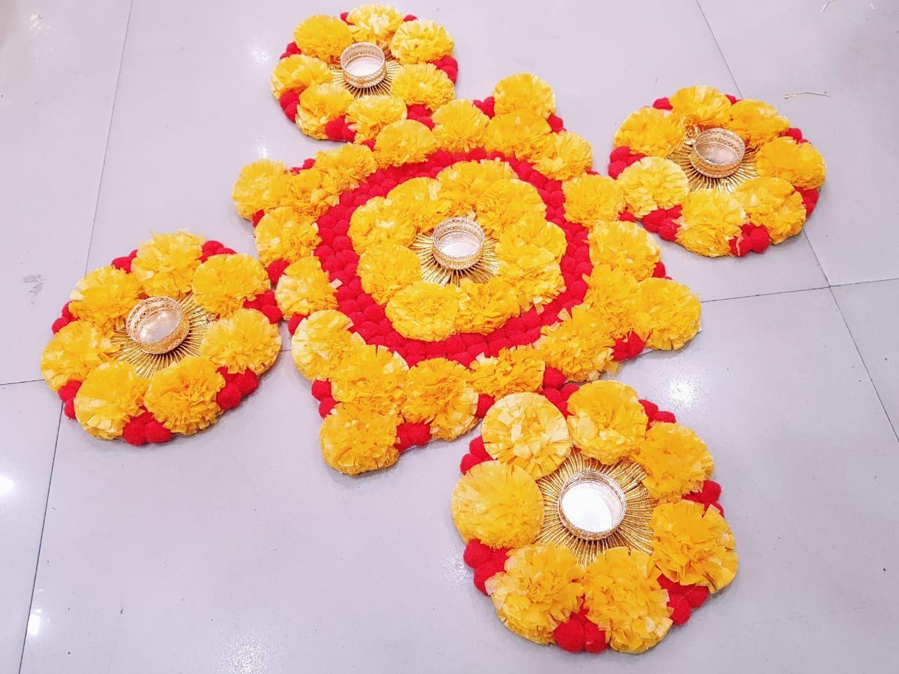 Marigold Flowers T Lights Rangoli Set For Floor Rangoli Decoration Instant Placement Removal Of Rang Flower Decorations Diwali Craft Diwali Decoration Items