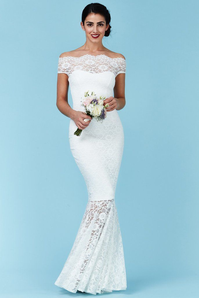 39235aa8235 Goddiva Bardot Lace Maxi Wedding Dress