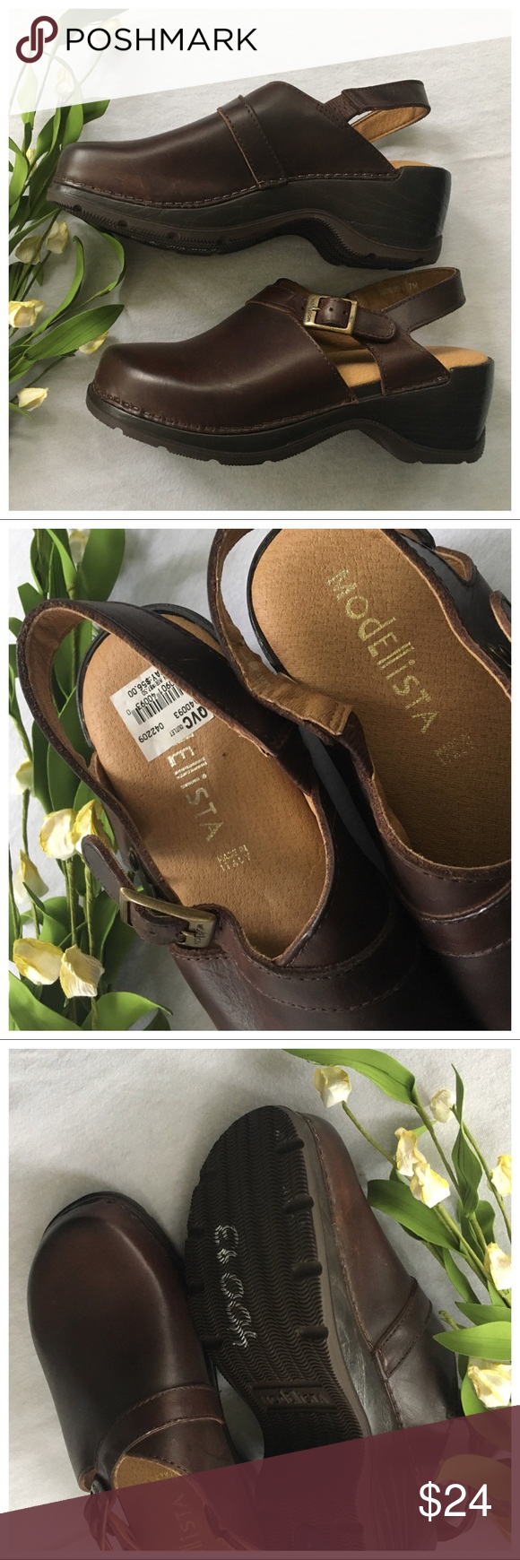 67d438beb4f9 modellista clogs 40093 NEW size 7 Brown Gorgeous Clogs by Modellista. NWT  from QVC outlet. Size 7 in Great condition. Only notable flaw a is on the  front ...