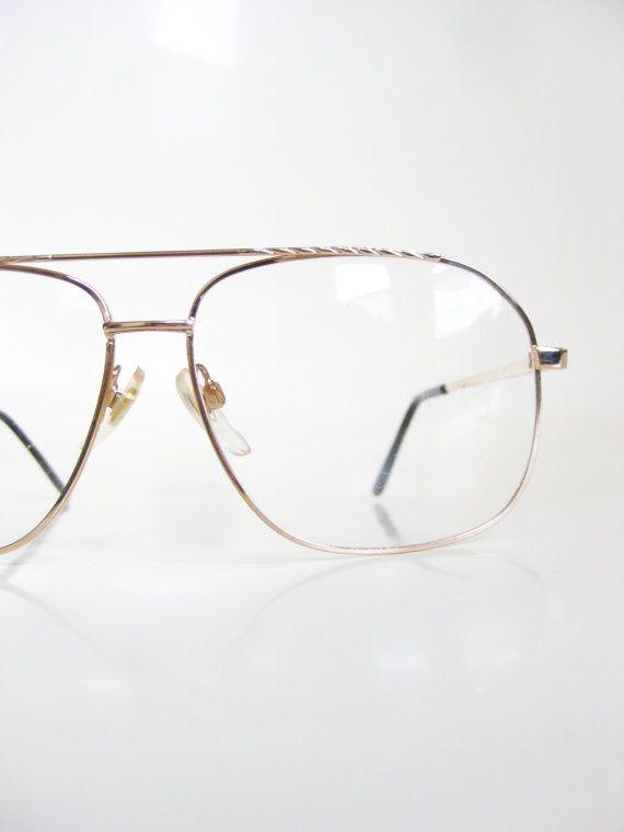 b18974c15b5 Vintage Gold Aviator Mens Eyeglasses Glasses Deadstock Frames 1970s 70s  Seventies Oversized Optical Guys Homme Metallic Shiny Sunglasses