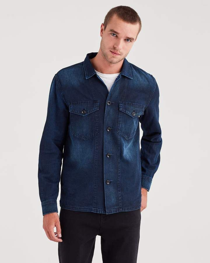7 For All Mankind Military Shirt Jacket In Blueprint Denim Wash Of