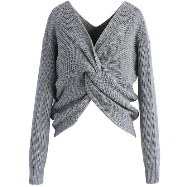 Chicwish Nifty Twist Sweater in Grey ($40) ❤ liked on Polyvore featuring tops, sweaters, grey, grey wrap sweater, grey crop top, gray sweater, gray top and grey cropped sweater