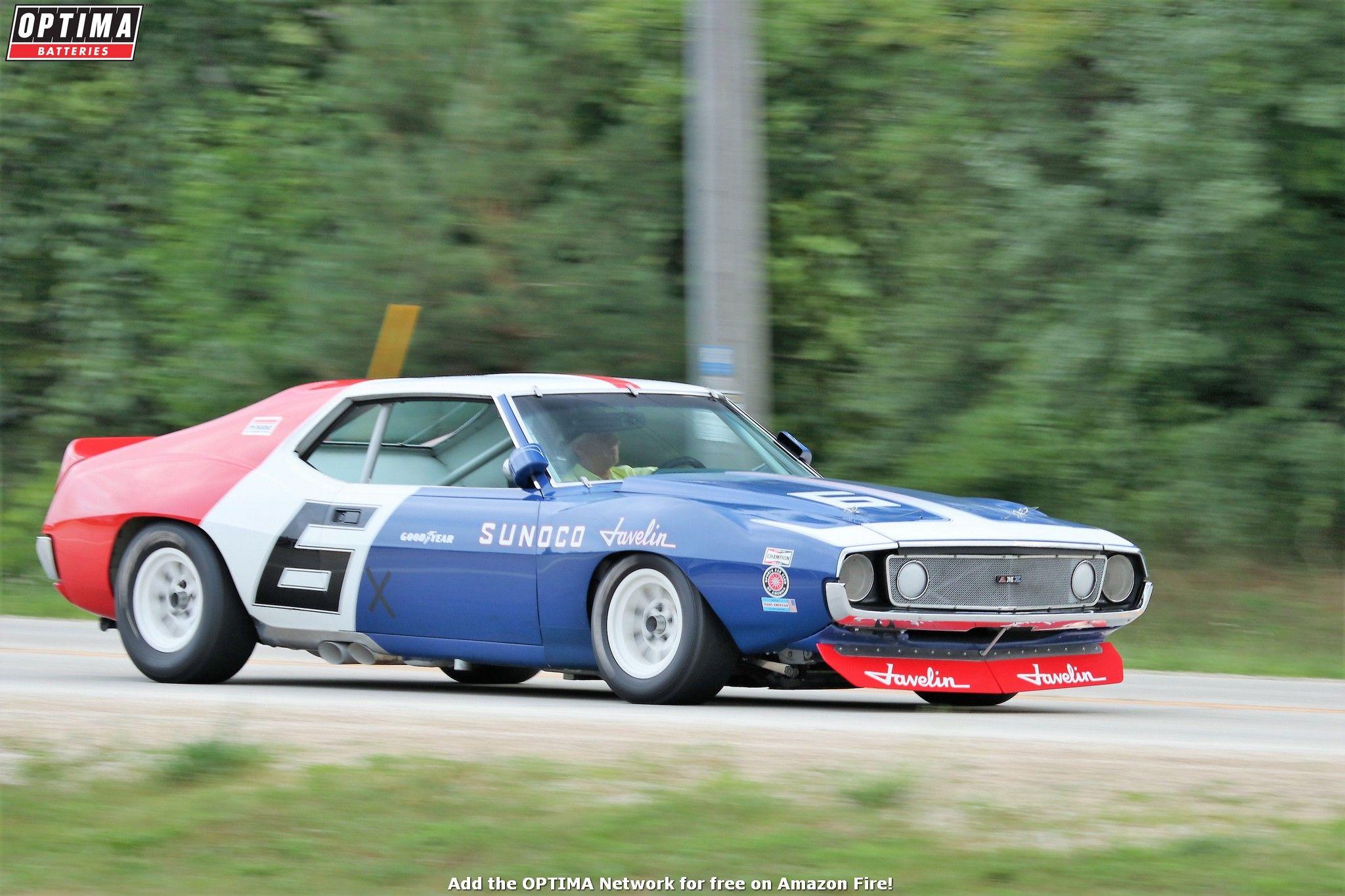 1971 AMC Javelin Trans Am vintage race car driving into