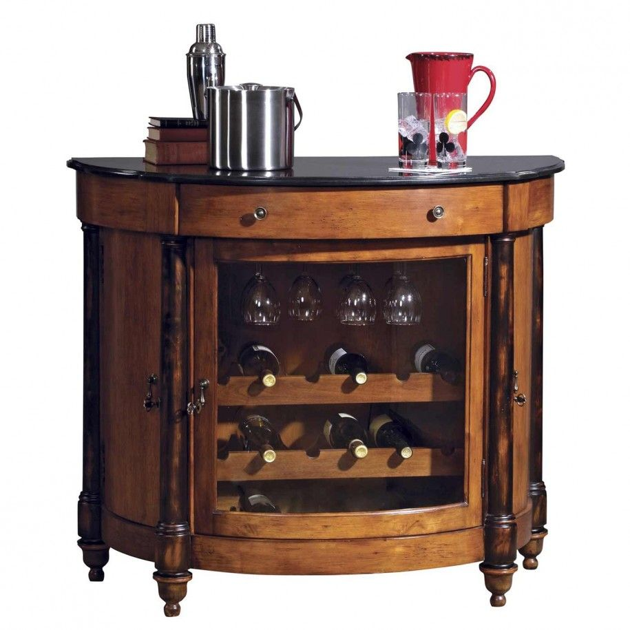 Charming Traditional Bar Table Design With Solid Black Granite Top And 3  Wine Racks: Enhancing