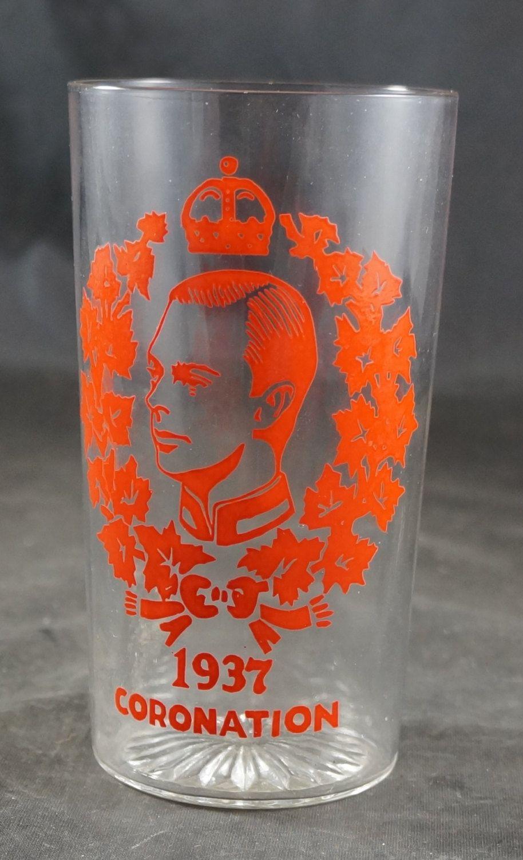 Vintage 1937 King George The Sixth Vi Coronation Glass Tumbler Glass Glass Tumbler Vintage