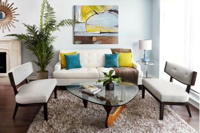 Deko Ideen Mietwohnung Wohnzimmer helle Farben Sofa gepolsterte