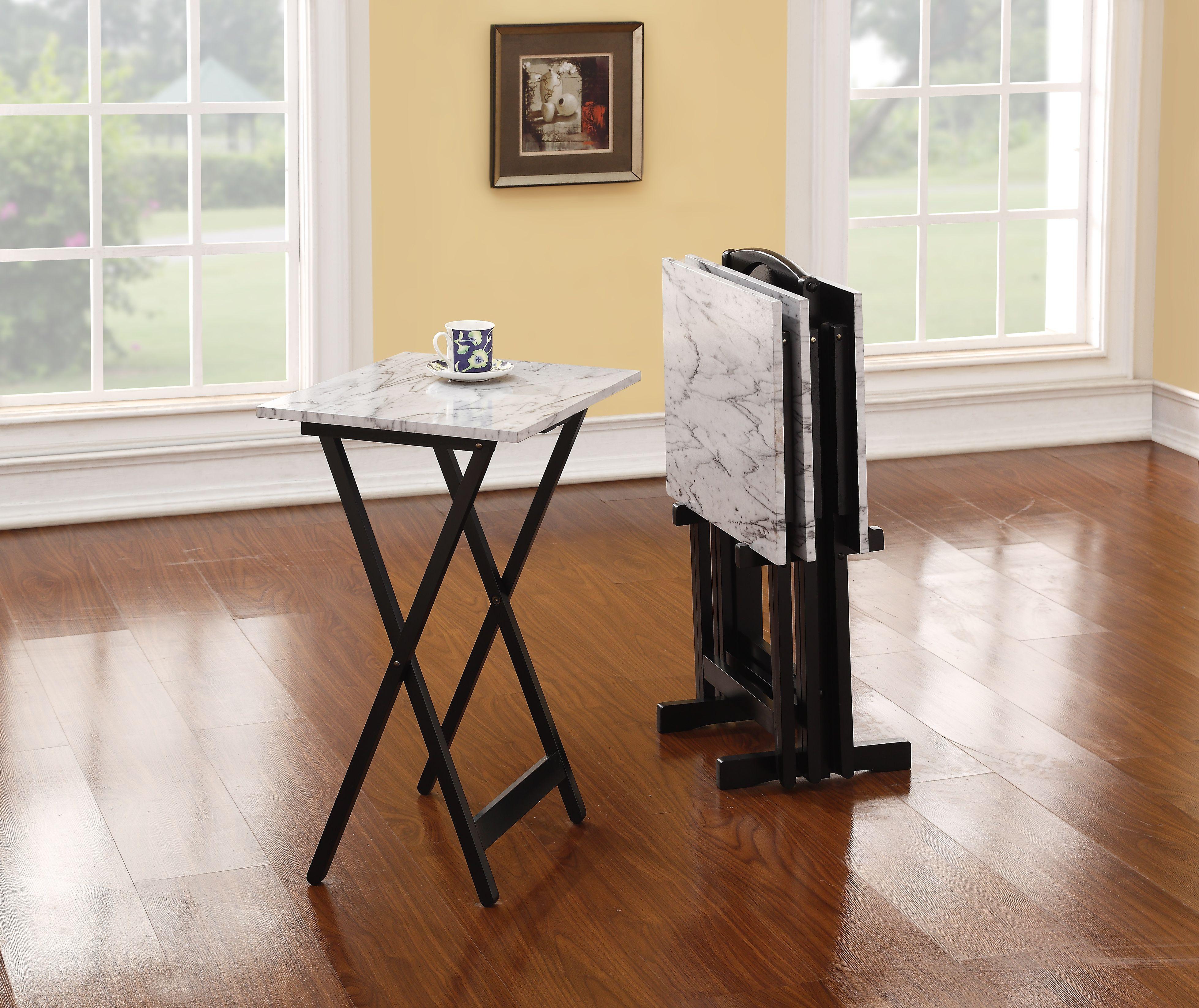 Linon White Faux Marble Tray Set Serving Trays Tv Tray Table Marble Tray Tray Table