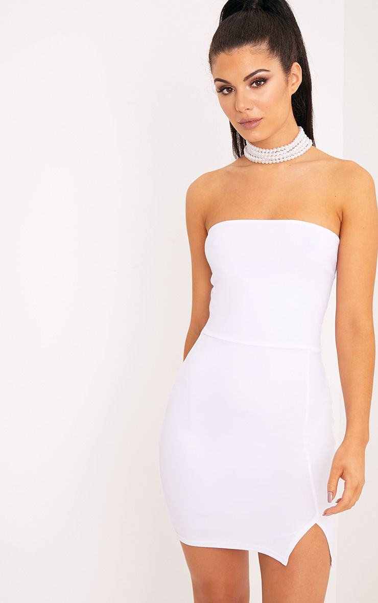4b22d263434 Layala White Split Detail Bandeau Bodycon Dress