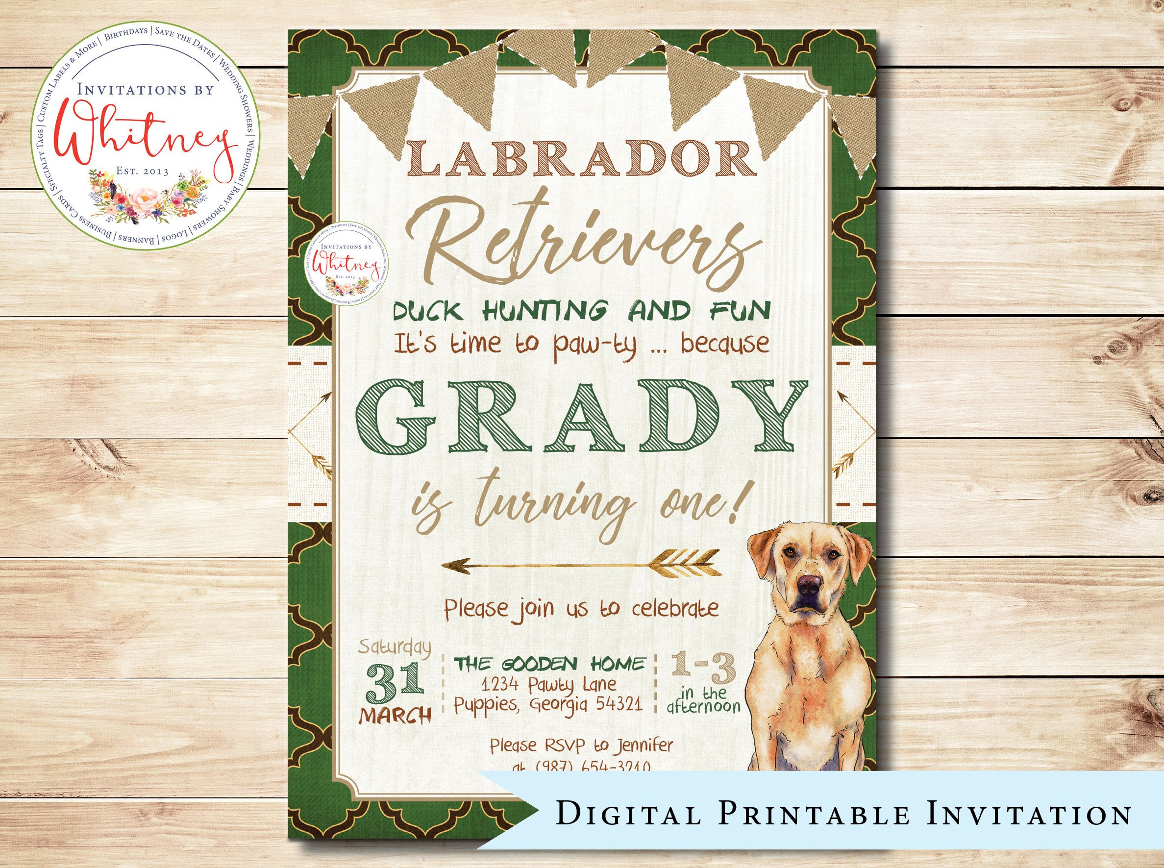 Golden Retriever Birthday Party Invitation Paw Ty Dog Themed Digital Printable Design By WhitneyYarberDesigns On Etsy