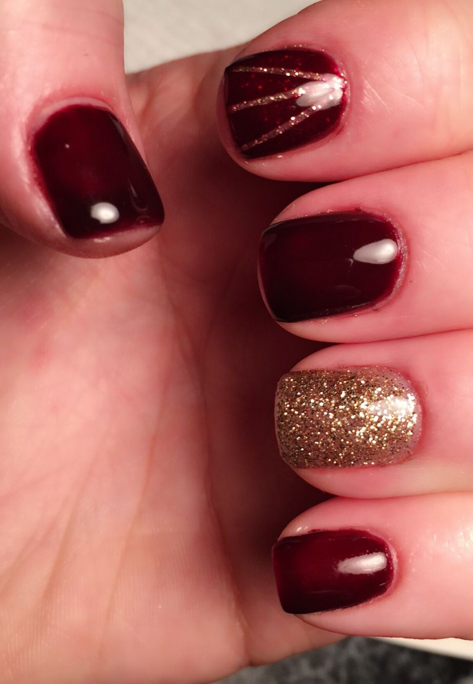 Dark red with gold details Gellish OPI Shellac | Nails | Pinterest ...
