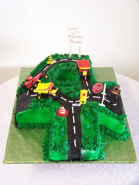 Number 4 Construction Birthday Cake