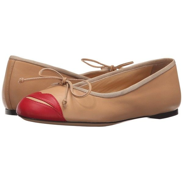 Charlotte Olympia Kiss Me Darcy (Nude/Red Calfskin) Women's Slip on... ($595) ❤ liked on Polyvore featuring shoes, flat shoes, leather sole shoes, nude shoes, slip-on shoes and nude flat shoes